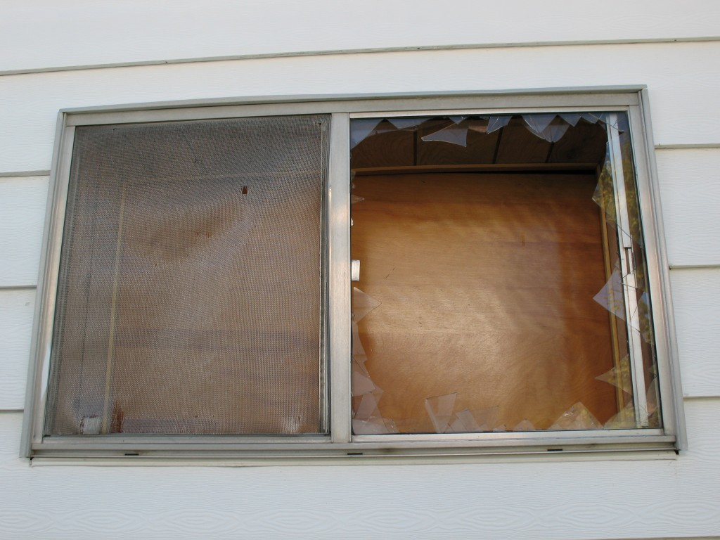 busted window